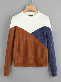 Shop Cut-and-sew Ribbed Knit Tee online. SHEIN offers Cut-and-sew Ribbed Knit Tee & more to fit your fashionable needs. Knit Fashion, Sweater Fashion, Cute Fashion, Hijab Fashion, Fashion News, Fashion Outfits, Bodysuit Fashion, Cut Shirts, Lingerie Sleepwear
