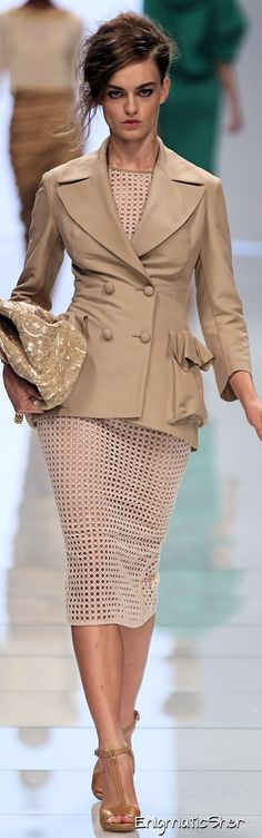 Work wear - professional attire - outfits - beige- suit - Ermanno Scervino (be adviced under garment a must for this dress).