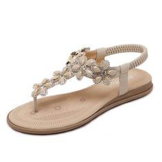 05f70ddcb112 SIKETU Summer new pregnant women sandals soft soles simple elegant sweet  casual shoes Bohemian diamonds were thin clip toe shoes