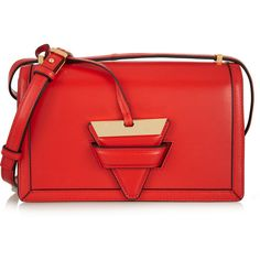 Loewe Barcelona leather shoulder bag ($2,300) ❤ liked on Polyvore featuring bags, handbags, shoulder bags, red, genuine leather purse, 80s fashion, leather handbags, genuine leather handbags and red leather handbag