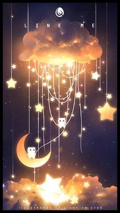 ArtStation - X to xinxin liu Anime Backgrounds Wallpapers, Anime Scenery Wallpaper, Pretty Wallpapers, Cute Galaxy Wallpaper, Night Sky Wallpaper, Galaxy Art, Galaxy Painting, Pretty Art, Cute Art
