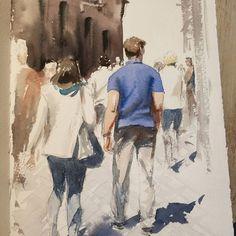 Pedestrians in Rome. #watercolorsketch #watercolour #aquarelle #aquarello #rome #italy #crowd #street #sunlight #summer #sketch #акварель #скетч #набросок