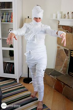 "A Mummy costume made from an old bed sheet is a great option. I simply tore the sheet into 4 to 5 inch wide strips and then rolled them up like bandages. When it was time to ""get dressed"" all we did was wrap from head to toe. One king-sized bed sheet ended up being exactly the right size for a full adult-sized mummy suit!"