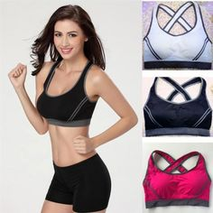 91bd59bc7c61a Women Yoga Fitness Stretch Sports Bra Workout Tank Top Seamless Padded  Racerback in Clothing