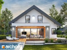 Dom w peperomiach 3 (G) Classic House Design, Small House Interior Design, Dream Home Design, Modern House Design, House Gate Design, House Front Design, Facade Design, House Roof, Facade House