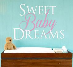 """Nursery Wall Decal - Sweet Baby Dreams Vinyl Wall Decal - Wall Decals - Nursery Wall Decal 20"""" x 28""""    This decal measures approximately 20"""" high x 28"""" wide.     Please leave the following information in the Notes To Seller section:  Color of """"Sweet"""" & """"Dreams""""  Color of """"Baby""""    This decal can be made in different dimensions. Larger sizes may increase the price of the wall decal and also result in installations requiring more than one piece.    Each order of wall art comes with the…"""