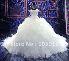 Puffy Ball Gown Wedding Dresses | Ball Gown Sweetheart Cathedral Train Wedding Dresses Pleated Bridal ...