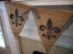 French Burlap Banner - Fleur De Lis - New Orleans Saints -  - Burlap Banner on Etsy, $22.00