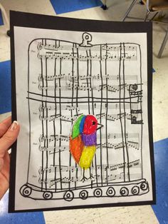 I Know Why the Caged Bird Sings, Black History month, art lesson – Ashley Pysher – art therapy activities History Projects, Art History, Art Projects, Maya Angelou, Black History Month Activities, The Caged Bird Sings, Art Therapy Activities, Art Lessons Elementary, African American Art