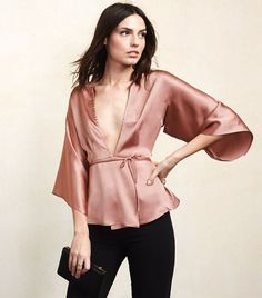Silky blush-tone wrap blouse // Reformation Janis Top