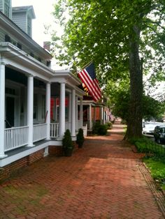 Love this brick sidewalk and the front porches on Maryland's Eastern Shore.