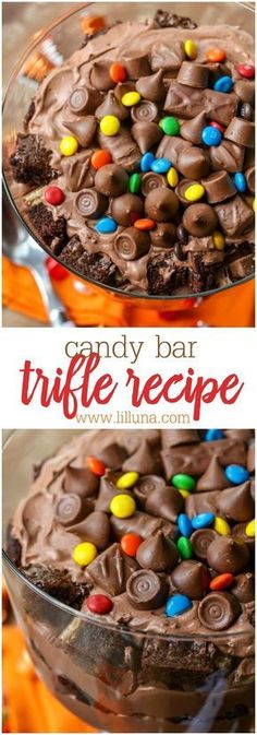 Candy Bar Trifle, Desserts, Delicious Candy Bar Trifle layered with brownie chunks, chocolate cream and candy. A great dessert to use with all that leftover Halloween candy! Mini Desserts, Layered Desserts, Trifle Desserts, Pudding Desserts, Oreo Dessert, Great Desserts, Dessert Recipes, Brownie Trifle, Plated Desserts