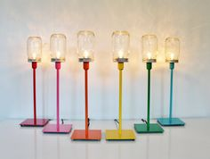 Mason Jar Lamp - Metal Table Top Lamp In Your Choice of Red, Pink, Orange, Yellow, Green, or Blue - Upcycled BootsNGus Lighting Fixture on Etsy, $40.00