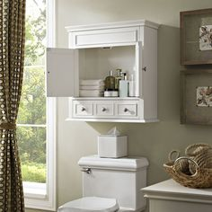 Lydia Wall Cabinet- White (Lydia Wall Cabinet in White), Crosley Furniture(Wood)