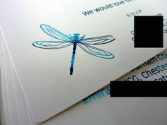 Inspired by Script: Turquoise Dragonfly Inspired Wedding Invitation