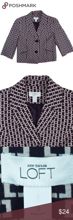 "ANN TAYLOR LOFT Navy & Beige Cropped Blazer Jacket Excellent condition! This navy blue and beige print cropped blazer from Ann Taylor Loft features a cropped style, button closures, 3/4 length sleeves and is fully lined. Made of a wool blend. Measures: Bust: 35"", total length: 18.5"", sleeves: 16.5"" LOFT Jackets & Coats Blazers"
