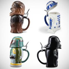 These are the steins that impart intergalactic intrepidity to one's imbibing. Made from high-quality ceramic and topped with hinged pewter lids, each 22-oz. stein is shaped in the likeness of one of four characters from the iconic Star Wars movie series. No stranger to serving drinks, R2-D2 keeps drinks on stable footing with his two flat feet while Darth Vader's helmet opens to accept even the darkest of stouts. Chewbacca's massive body cavity takes on Kashyyyk ale without a growl while…