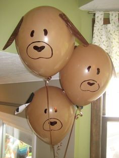 Is your pet's birthday coming up? These barkin' balloons are a fun touch for the party! I'd love it at my birthday! Puppy Birthday Parties, Puppy Party, Dog Birthday, Birthday Party Themes, Dog Parties, Parties Food, Party Animals, Animal Party, Animal Birthday