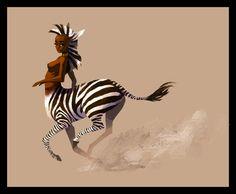 Zebra Centaur by BirdPuppet Humanoid Creatures, Weird Creatures, Magical Creatures, Fantasy Creatures, Mythological Creatures, Female Centaur, Female Art, Fantasy Paintings, Fantasy Art