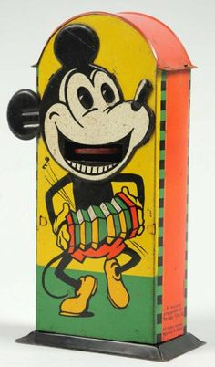 MICKEY MOUSE tin vending bank circa 1930's. Absolutely perfect, I've never seen one in this shape. Estimate $20,000 - $30,000.