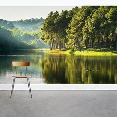 3D Riverside Trees GNGN483 Wallpaper Mural Decal Mural Photo Sticker Decal Wall Self-Adhesive Wall Art Design 3d printed Removable Wallpaper