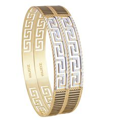The round band shaped golden bangles.