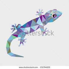 Gecko reptile animal triangle low polygon style. Nice and clean vector. Good use for your symbol, mascot, website icon, avatar, sticker, or any design you want. Easy to use. - stock vector