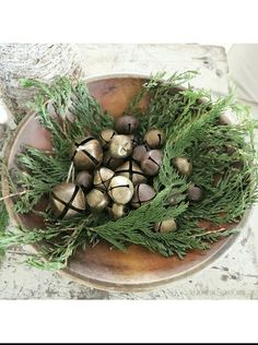 Rustic Christmas/winter - greenery in wooden dough bowl with rusty old jingle bells Primitive Christmas, Farmhouse Christmas Decor, Merry Little Christmas, Christmas Bells, Country Christmas, Vintage Christmas, Christmas Crafts, Christmas Decorations, Christmas Ideas