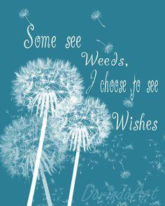 Dandelion quote printable Teal home decor Dandelion by DorindaArt