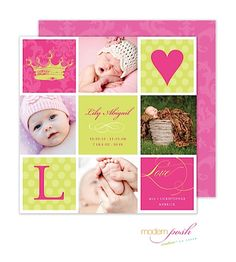 Posh Little Princess Birth Announcements Photo Cards with 4 photos, initial, heart and princess crown tiara in pink and green From Little Angel Announcements