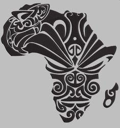 African dream tattooVita requested an Africa-shaped tattoo with Maori fillings representing a facial mask (moko) and a shark. We thought of drawing the . African Warrior Tattoos, African Tribal Tattoos, Tattoo Tribal, African Tribal Patterns, Tribal African, African Art, African Symbols, Tattoo Maori, African Design