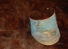 smashed bronze cuff with a mossy bue green patina...by pamela desantis tachibana of standingflower studio