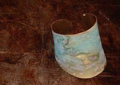 smashed bronze cuff with a mossy bue green patina...by pamela desantis tachibana of standingflower studio