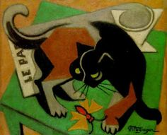 """Jean Metzinger (French, 1883–1956) - """"Le chat au papillon"""" (Cat and butterfly), 1940 - Oil on canvas"""