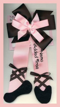 Personalized Ballet Slippper Hair Bow by ImAllEarsByStephanie, $12.99 https://www.etsy.com/listing/500606/personalized-ballet-slippper-hair-bow?ref=shop_home_active_8