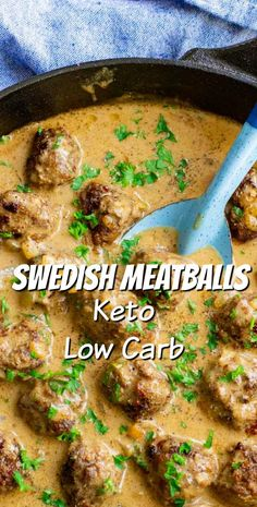 These Keto Swedish Meatballs are easily made in one skillet! The low carb sauce reheats wonderfully, making these Swedish Meatballs perfect or meal prepping! Healthy Low Carb Recipes, Low Carb Dinner Recipes, Protein Recipes, Ketogenic Recipes, Ketogenic Diet, Sauce Recipes, Beef Recipes, Family Recipes, Clean Recipes