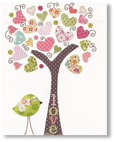Kids wall art - nursery art prints - baby nursery decor - nursery art - Birds Tree Pink - Tree Of Love print from Paris by GalerieAnais on Etsy, Applique Patterns, Applique Quilts, Applique Designs, Quilt Patterns, Baby Nursery Decor, Nursery Wall Art, Nursery Canvas, Babies Nursery, Nursery Prints