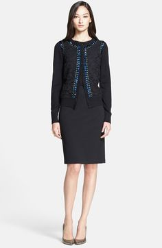St. John Collection Beaded Lace Front Silk & Cashmere Cardigan available at #Nordstrom