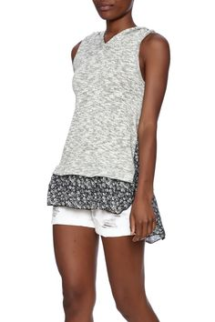 Hooded tank top with navy floral bottom pattern.   Allie Top by Oddy. Clothing - Tops - Sleeveless Montclair, New Jersey