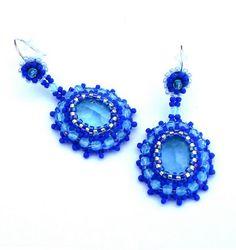 Boucles d'oreilles argent et perles brodées bleues