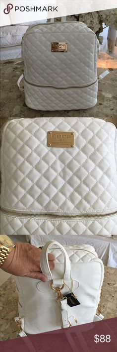 ⚡️FLASH SALE⚡️Bebe backpack purse Sale ends7/11/16 White backpack purse with gold hardware by bebe. Zippered top and lower front zipper front pocket. Measures 13 x 11 . FIRM PRICE bebe Bags Backpacks