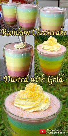 Share a little love with these cute individual Rainbow Cheesecakes - and dust them with Gold Check out the video recipe Here: https://youtu.be/IJe69wXXZuU