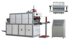 MODEL JD-660B AUTOMATIC PLASTIC THERMOFORMING MACHINE .  It can finish producing product at one time through sheet feeding ,heating,stretching ,forming and side-cutting,etc.It can product such as PP,PE,PS and ABS,etc,This equipment adopts microcomputer control with semiautomatic and automatic functions.This machine has such advantages as wide use ,stable run-ning and smooth operation,high rate of finished products and law noise,etc.