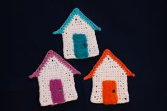 image of crochet beach huts with felted doors