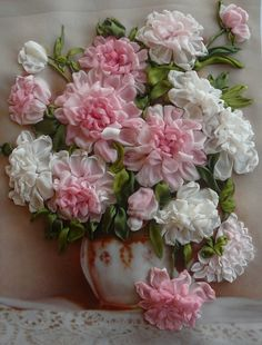 Wonderful Ribbon Embroidery Flowers by Hand Ideas. Enchanting Ribbon Embroidery Flowers by Hand Ideas. Embroidery Designs, Ribbon Embroidery Tutorial, Silk Ribbon Embroidery, Embroidery Stitches, Embroidery Patterns, Hand Embroidery, Embroidery Supplies, Embroidery Techniques, Embroidery Tattoo