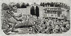"""Gran calavera eléctrica"" (Grand electric skull) by José Guadalupe Posada, 1900-1913. Restored reproduction."