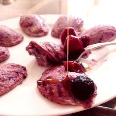 #food #sweets #berry #tofu お豆腐とミックスベリーとHMと檸檬のケーキ メイプルシロップがけ