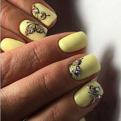 30 Butterfly Nails Art Provide The Nails A Fantastic Appearanc – Page 19 – C. Butterfly Nail Designs, Butterfly Nail Art, Flower Nail Art, Butterfly Drawing, Best Nail Art Designs, Nail Designs Spring, Spring Nails, Summer Nails, Yellow Nail Art