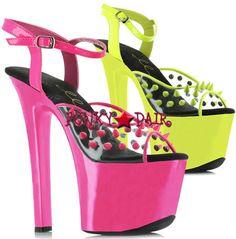 7 inch stiletto heel with neon platform and blacklight reactive spikes *711-Solar