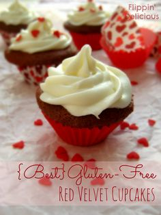 The best gluten-free red velvet recipe that you will ever eat. Moist, sweet, with just a hint of vanilla and cocoa. These cupcakes really are the best! Gluten Free Deserts, Gluten Free Sweets, Foods With Gluten, Gluten Free Baking, Gluten Free Recipes, Gf Recipes, Shrimp Recipes, Easy Recipes, Healthy Recipes